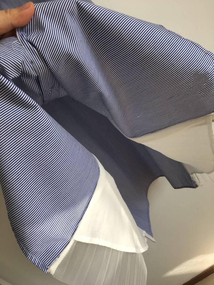 大人気 enfold エンフォルド ストライプシャツ 異素材 チュール ドッキング ブラウス シャツ シャツワンピース 完売 ブルー_画像6