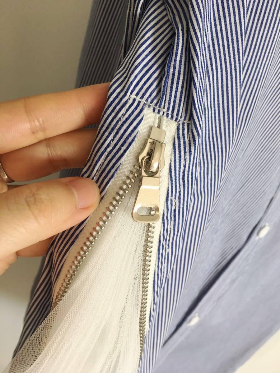 大人気 enfold エンフォルド ストライプシャツ 異素材 チュール ドッキング ブラウス シャツ シャツワンピース 完売 ブルー_画像5