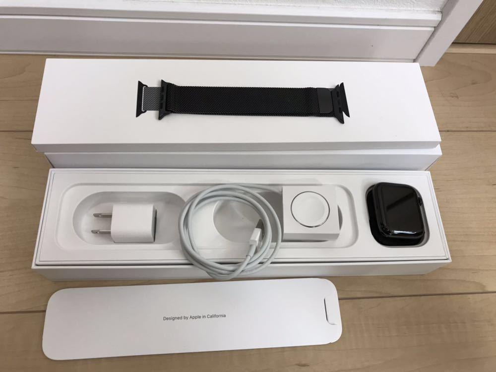 【美品】Apple Watch SERIES4 44mm アップルウォッチ シリーズ4 セルラーモデル スペースブラック ステンレススチール ミラネーゼループ