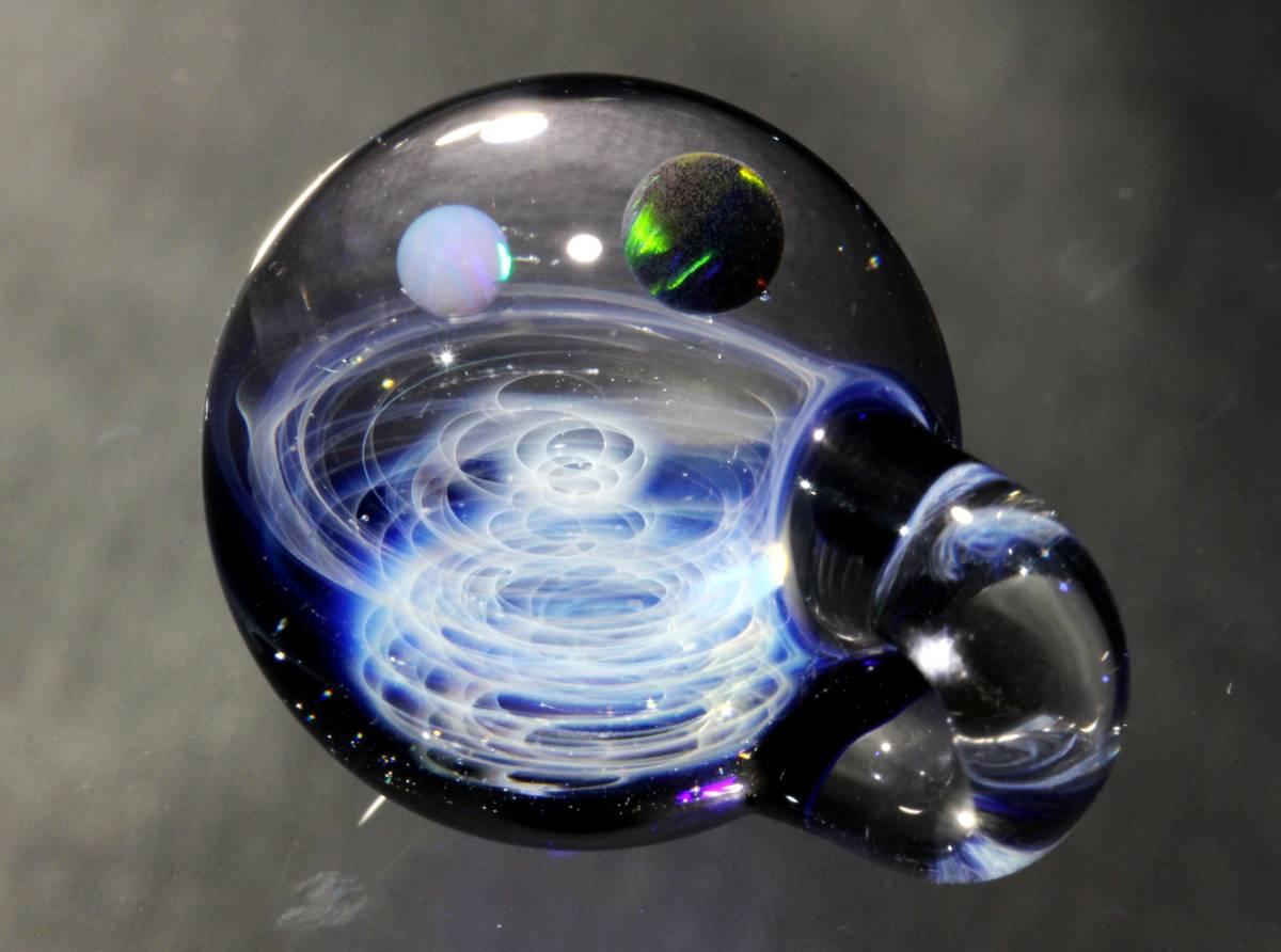 宇宙ガラスペンダント・2種類のオパール入り・ブラック、ホワイトオパール・ネックレス、チョーカー / No.174_画像3