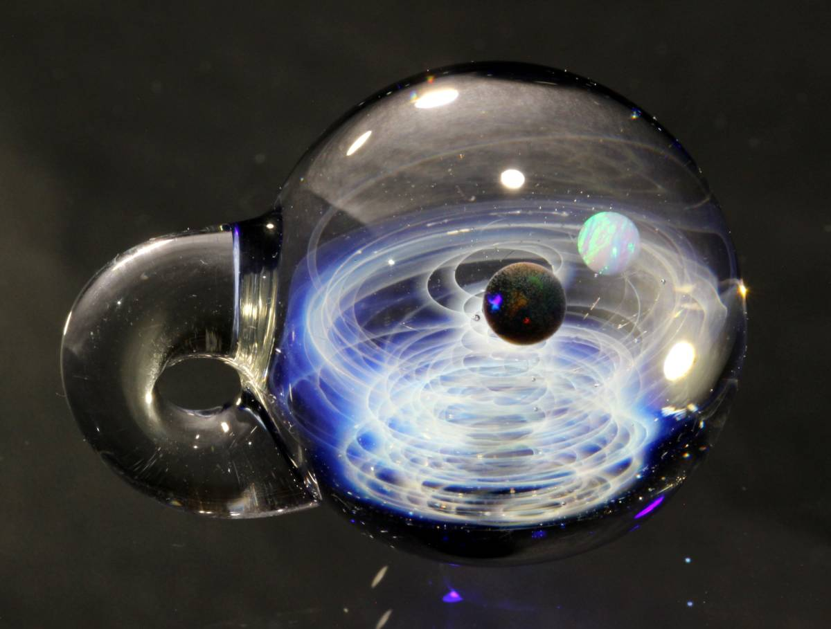 宇宙ガラスペンダント・2種類のオパール入り・ブラック、ホワイトオパール・ネックレス、チョーカー / No.174_画像7