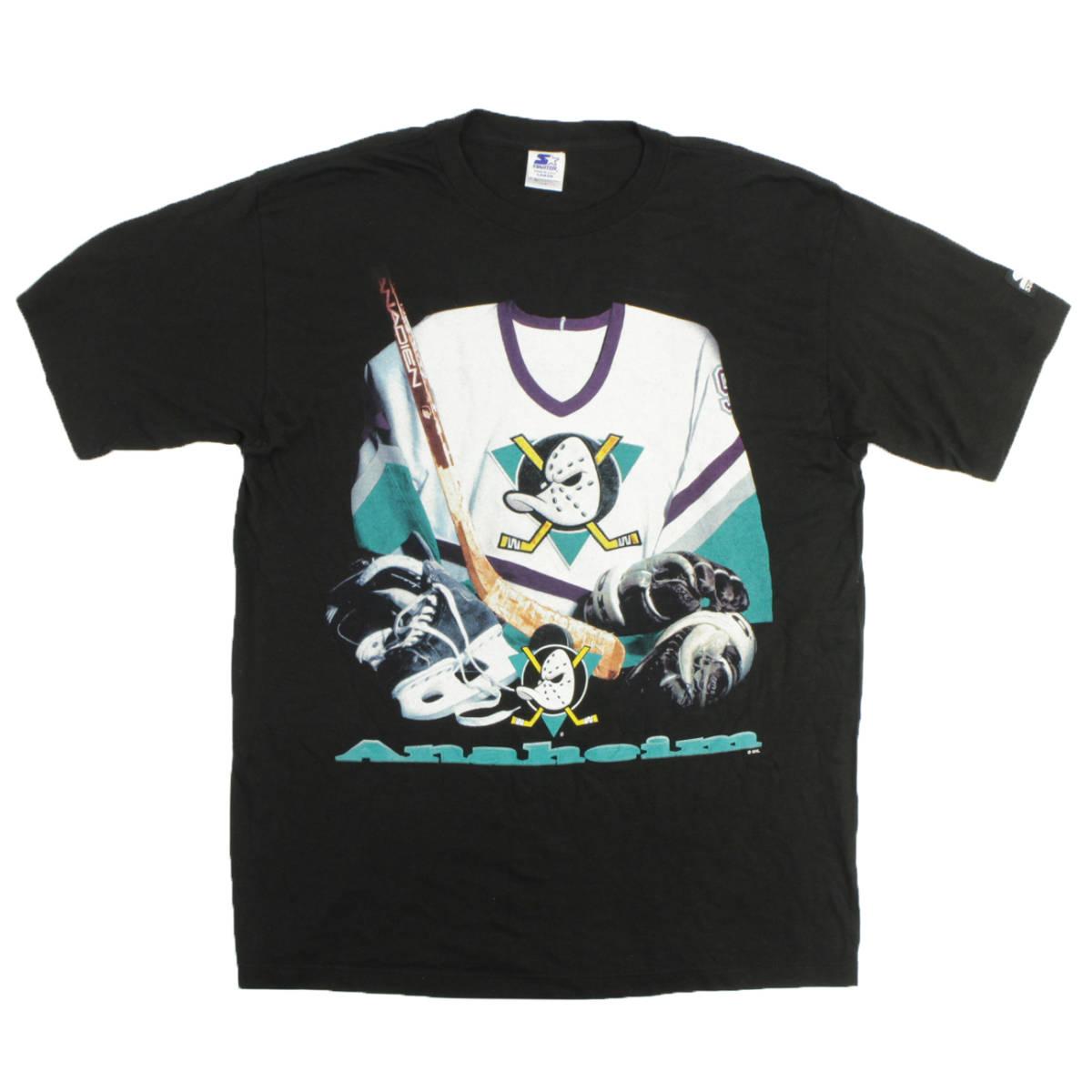 ■美品 90s USA製 STARTER NHL アナハイム マイティ ダックス Tシャツ Anaheim Mighty Ducks 黒 L ビンテージ_画像1