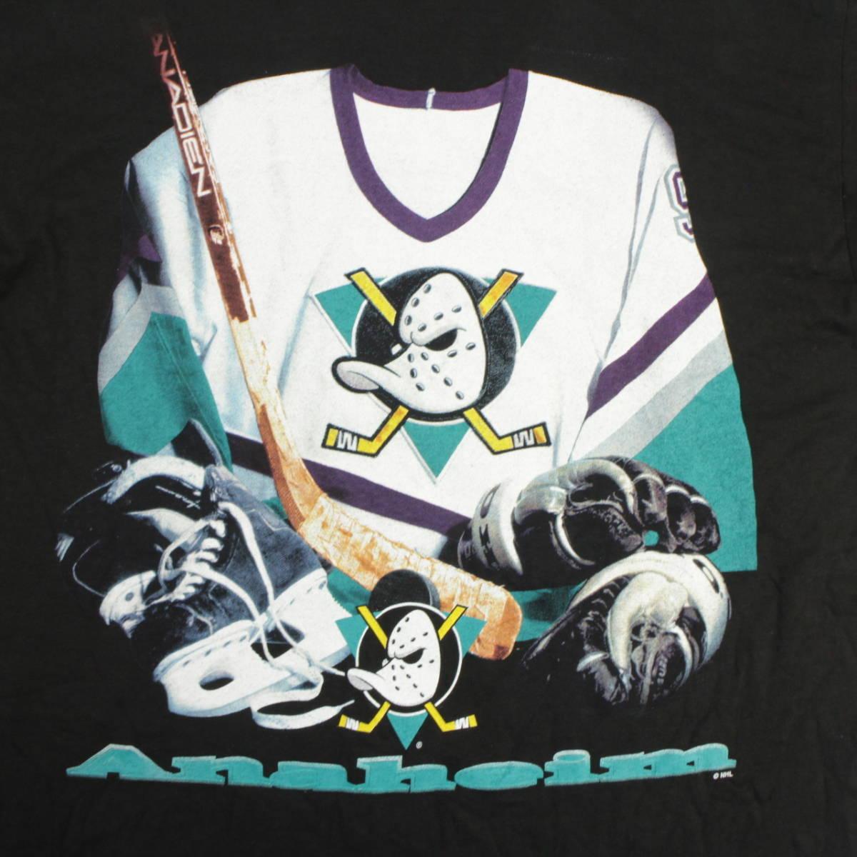■美品 90s USA製 STARTER NHL アナハイム マイティ ダックス Tシャツ Anaheim Mighty Ducks 黒 L ビンテージ_画像6