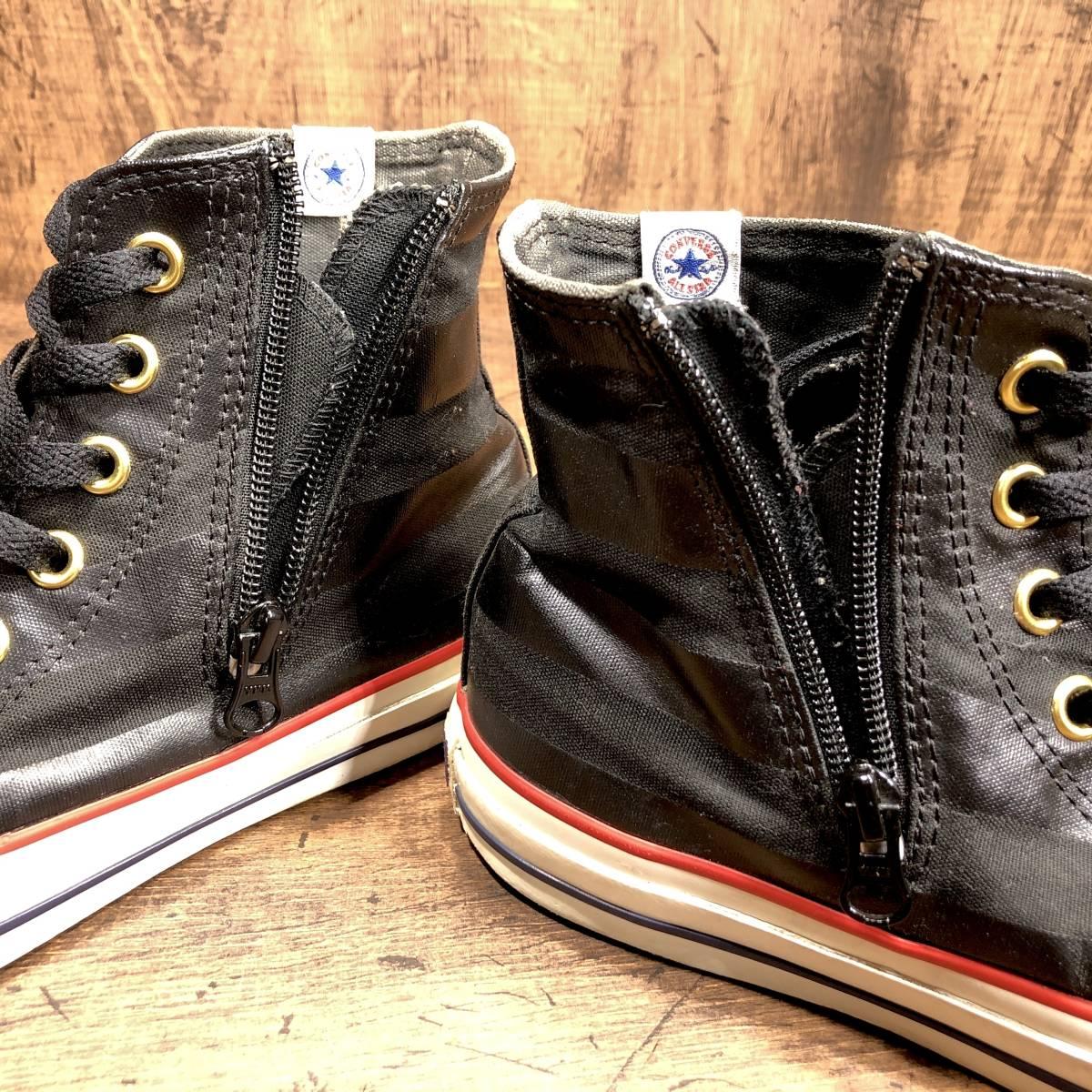 ■CONVERSE ALL STAR■ 26.5cm US8 黒 ブラック コンバース オールスター ハイカットスニーカー サイドジップ メンズ 靴 くつ 8ホール 即決_画像6