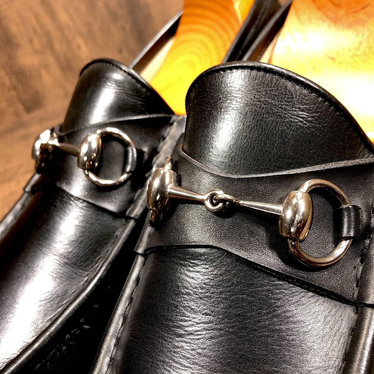 ■GUCCI■ 26cm 黒 ブラック グッチ ビットローファー メンズ 革靴 靴 本革 ビジネス ドレス くつ 即決_画像5