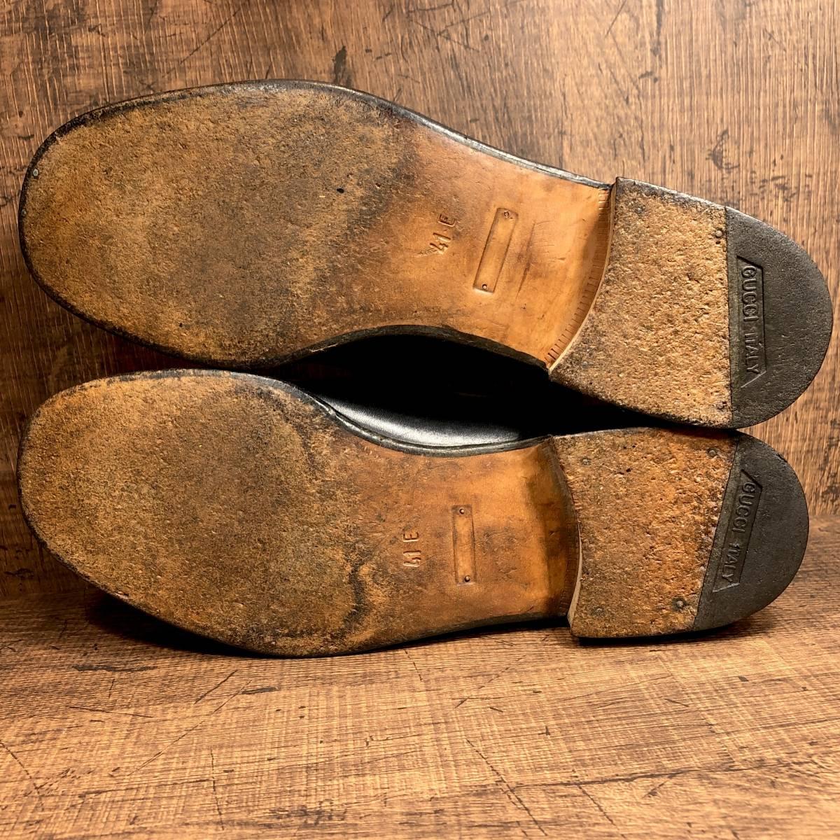 ■GUCCI■ 26cm 黒 ブラック グッチ ビットローファー メンズ 革靴 靴 本革 ビジネス ドレス くつ 即決_画像3