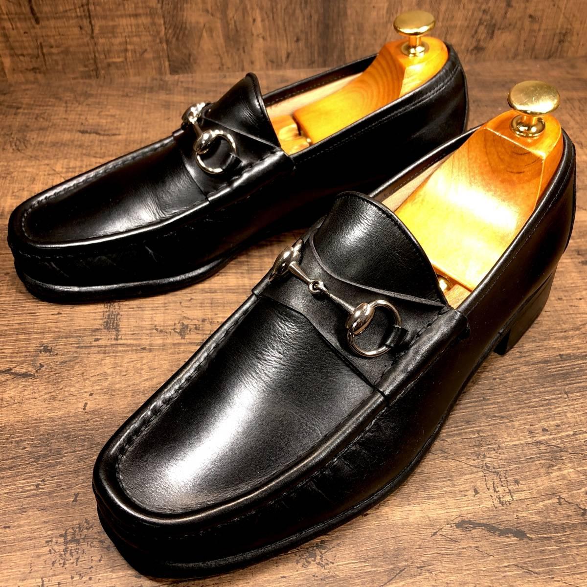 ■GUCCI■ 26cm 黒 ブラック グッチ ビットローファー メンズ 革靴 靴 本革 ビジネス ドレス くつ 即決_画像4