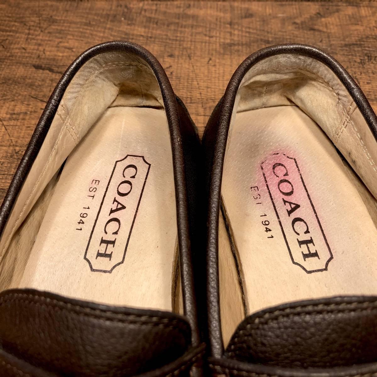 ■COACH■ 26cm 茶 ブラウン コーチ ドライビングシューズ コインローファー メンズ 革靴 靴 本革 ビジネス ドレス くつ 即決_画像5