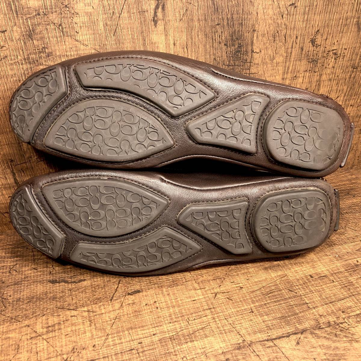 ■COACH■ 26cm 茶 ブラウン コーチ ドライビングシューズ コインローファー メンズ 革靴 靴 本革 ビジネス ドレス くつ 即決_画像3