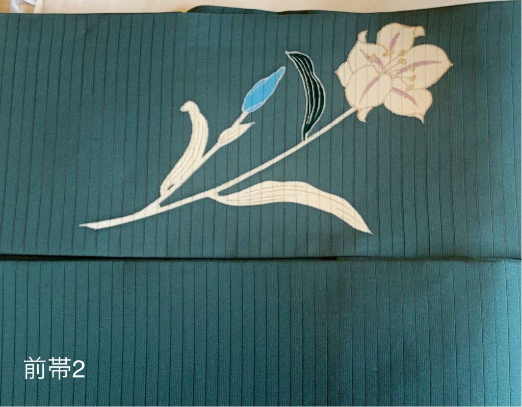 【新品・未使用】 白百合文 正絹 絽塩瀬 名古屋帯 (ガード加工済み・端布付き)_画像6