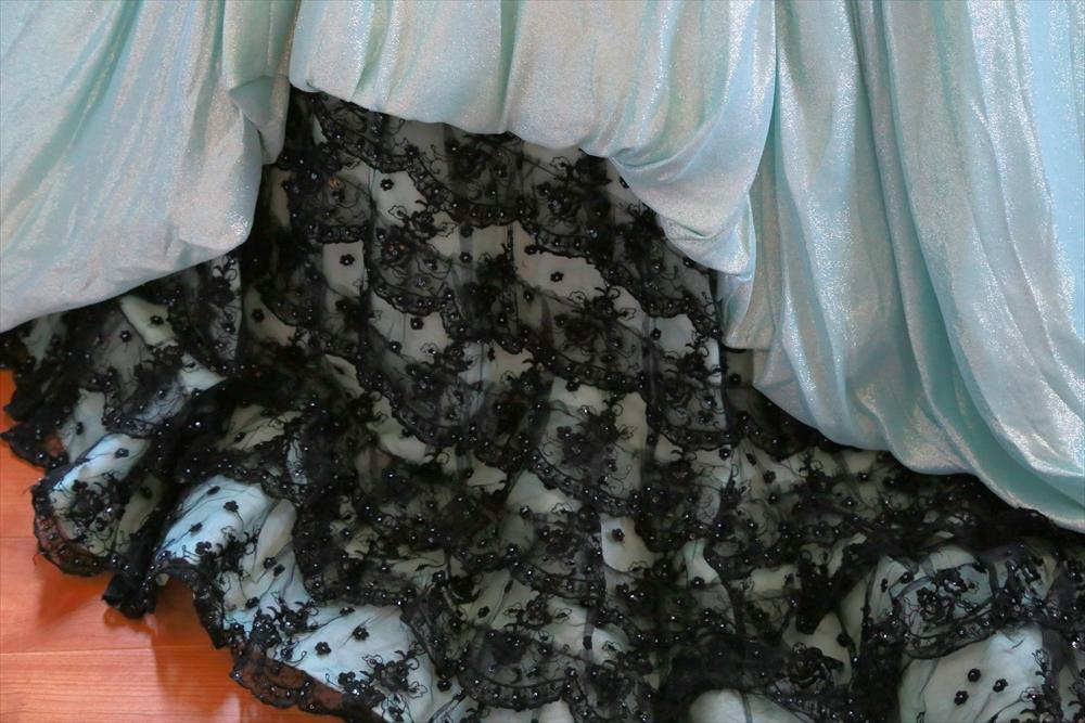 京都マリエ製ミントグリーンのシンプルなウエディングドレス5号7号9号XS~Mサイズ編み上げ☆カラードレスカクテルドレス_画像10