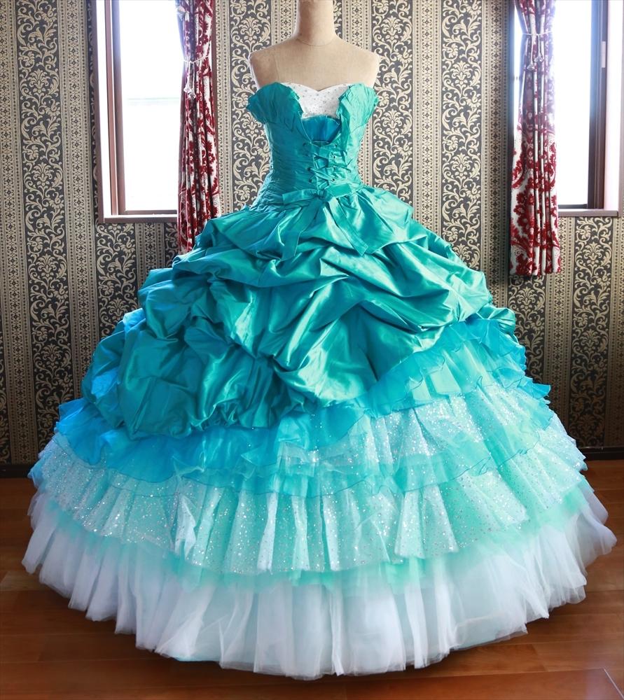 良質シルク生地高級ウエディングドレス☆クラウディア【Lovery Wedding】オーシャンブルーカラードレス5号7号9号XS~Mサイズ☆小さいサイズ