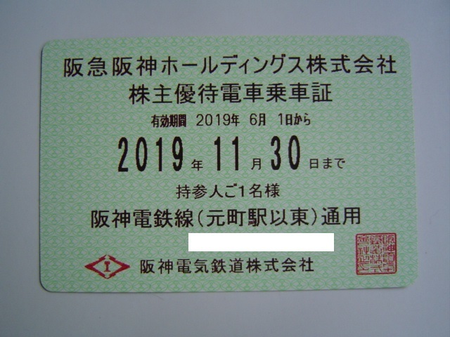 最新☆阪急阪神H株主優待電車乗車証 阪神電車 定期型  簡易書留込