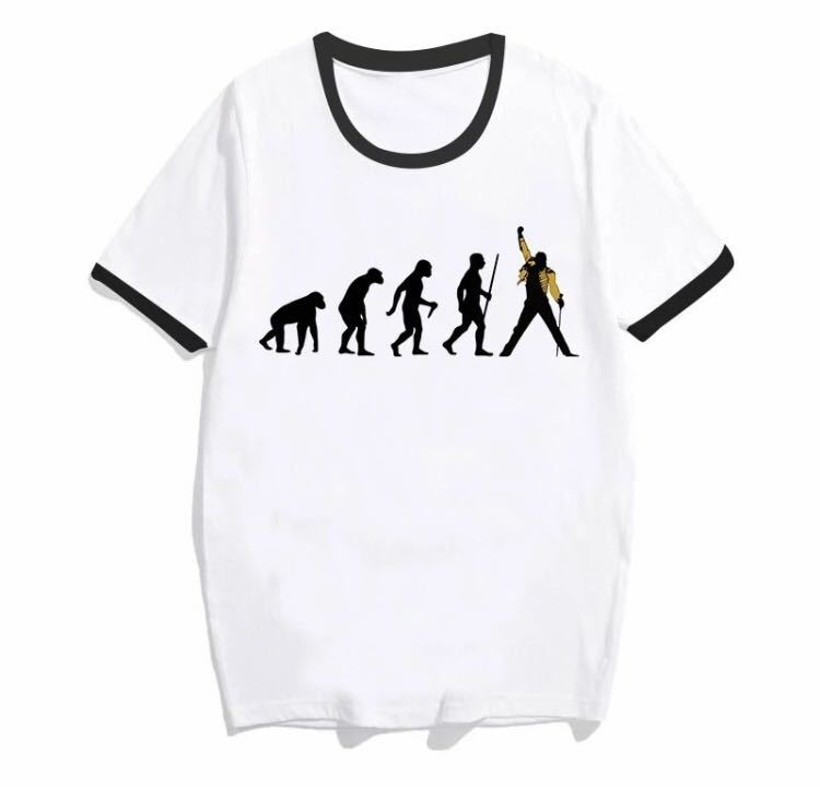 日本未発売☆QUEEN FREDDIE MERCURYフレディ・マーキュリー進化系面白Tシャツ/フレディ ライヴ/バイカラー