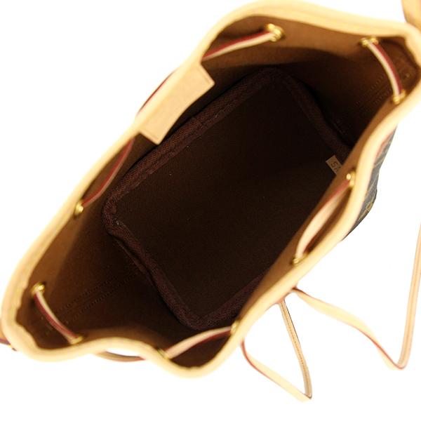 6260 新品 ルイヴィトン ナノノエ モノグラム ブラウン レザー 巾着 斜め掛けショルダーバッグ ミニ ポーチ ポシェット LV ロゴ レディース_画像6