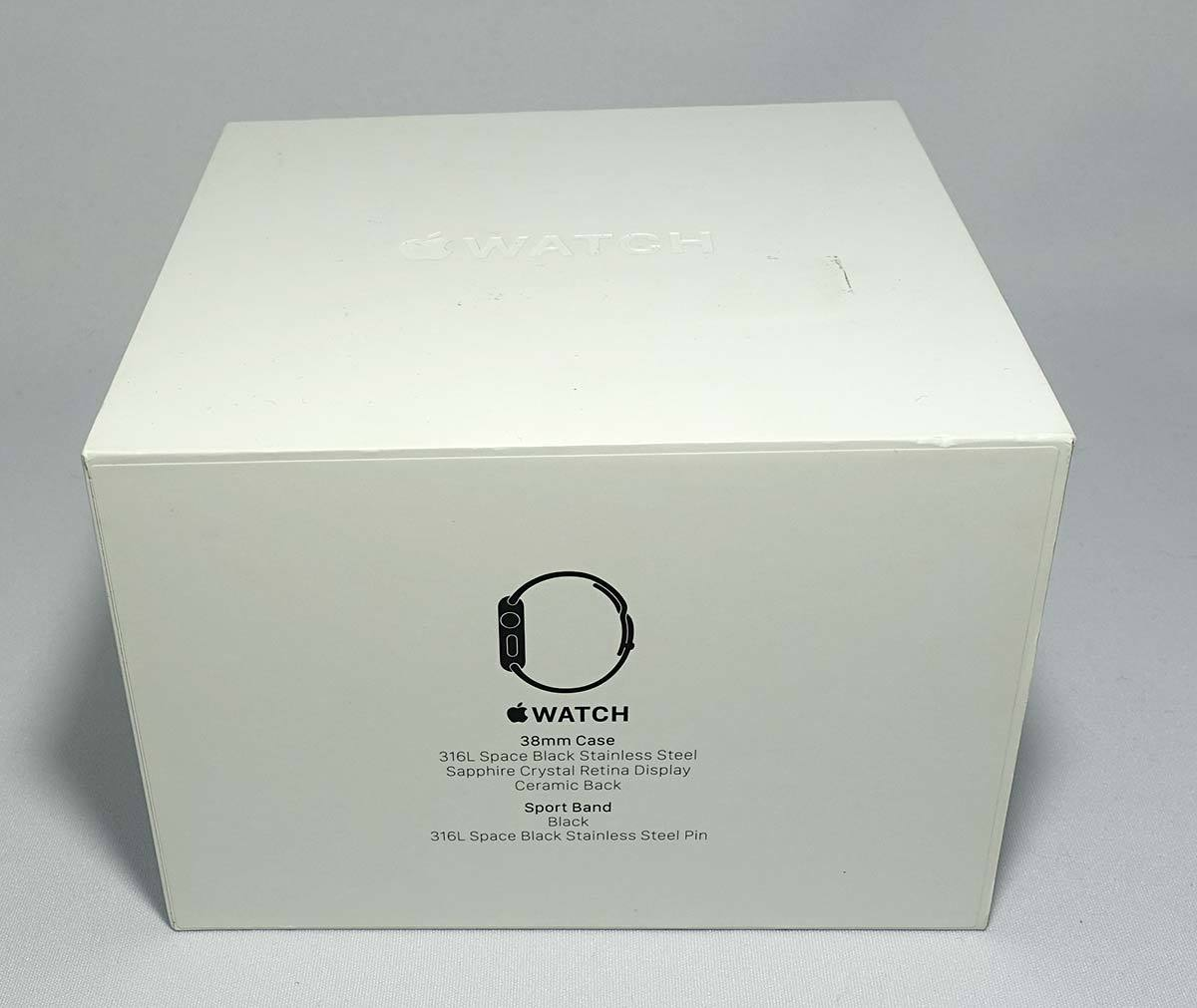 箱付 付属品有 Apple Watch 38mm MLCK2J/A A1553 ブラック ステンレススチール ブラック スポーツバンド アップル ウォッチ_画像6