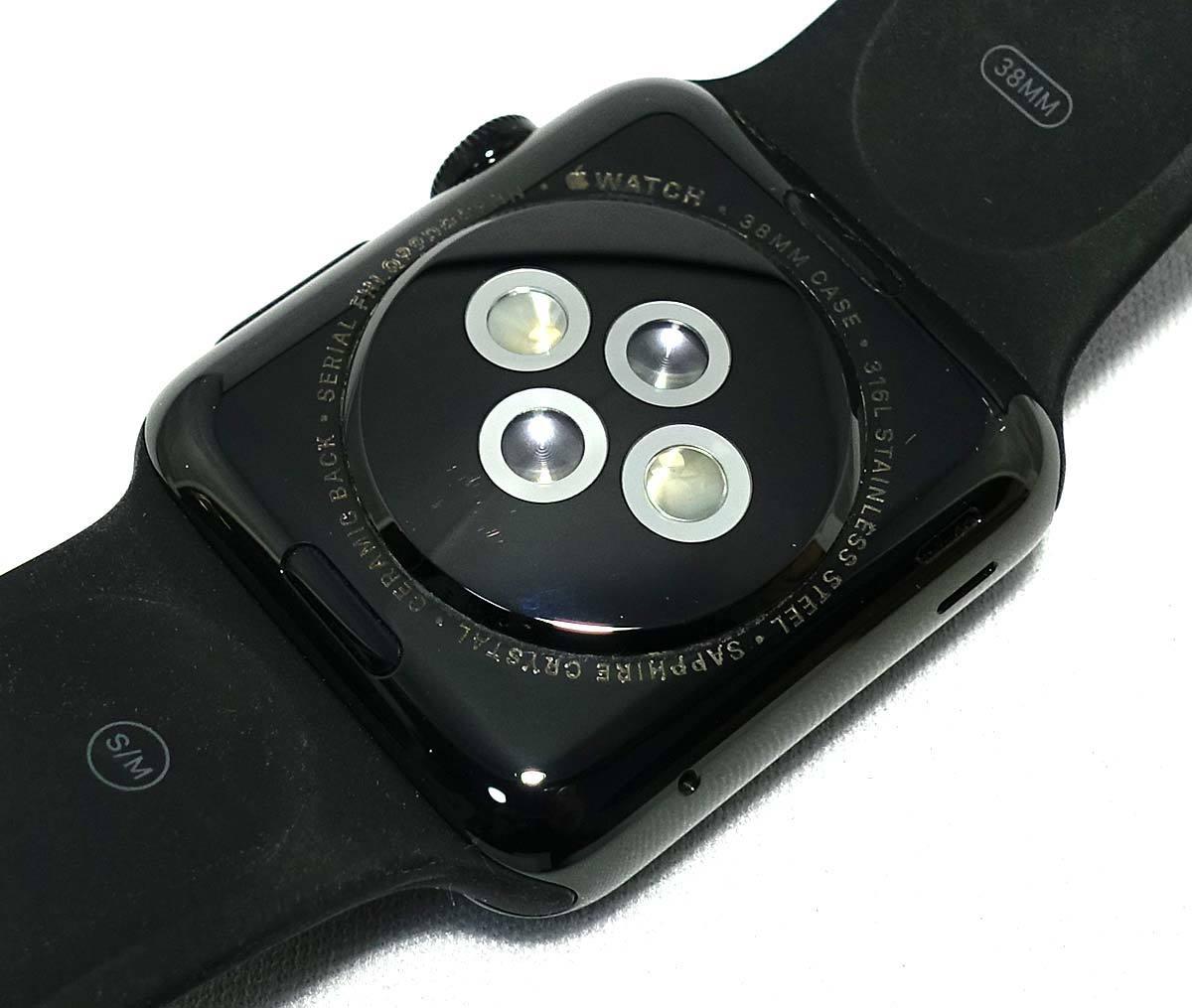 箱付 付属品有 Apple Watch 38mm MLCK2J/A A1553 ブラック ステンレススチール ブラック スポーツバンド アップル ウォッチ_画像3