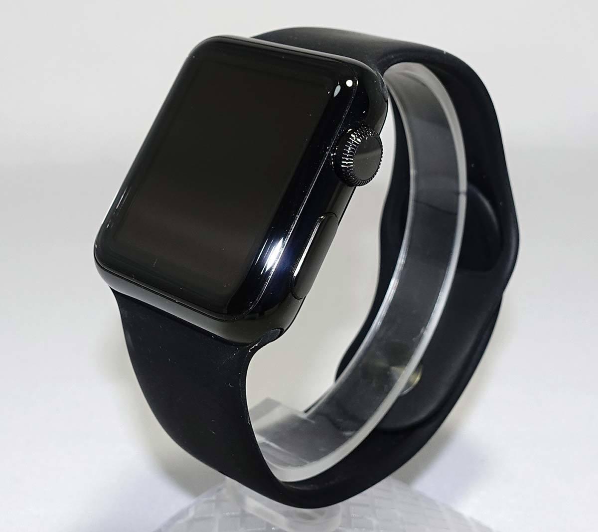 箱付 付属品有 Apple Watch 38mm MLCK2J/A A1553 ブラック ステンレススチール ブラック スポーツバンド アップル ウォッチ