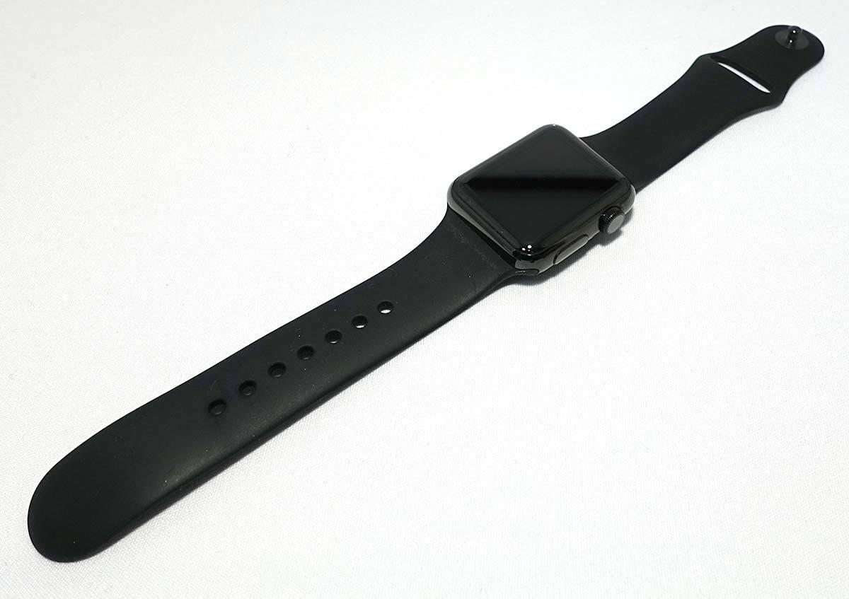 箱付 付属品有 Apple Watch 38mm MLCK2J/A A1553 ブラック ステンレススチール ブラック スポーツバンド アップル ウォッチ_画像2