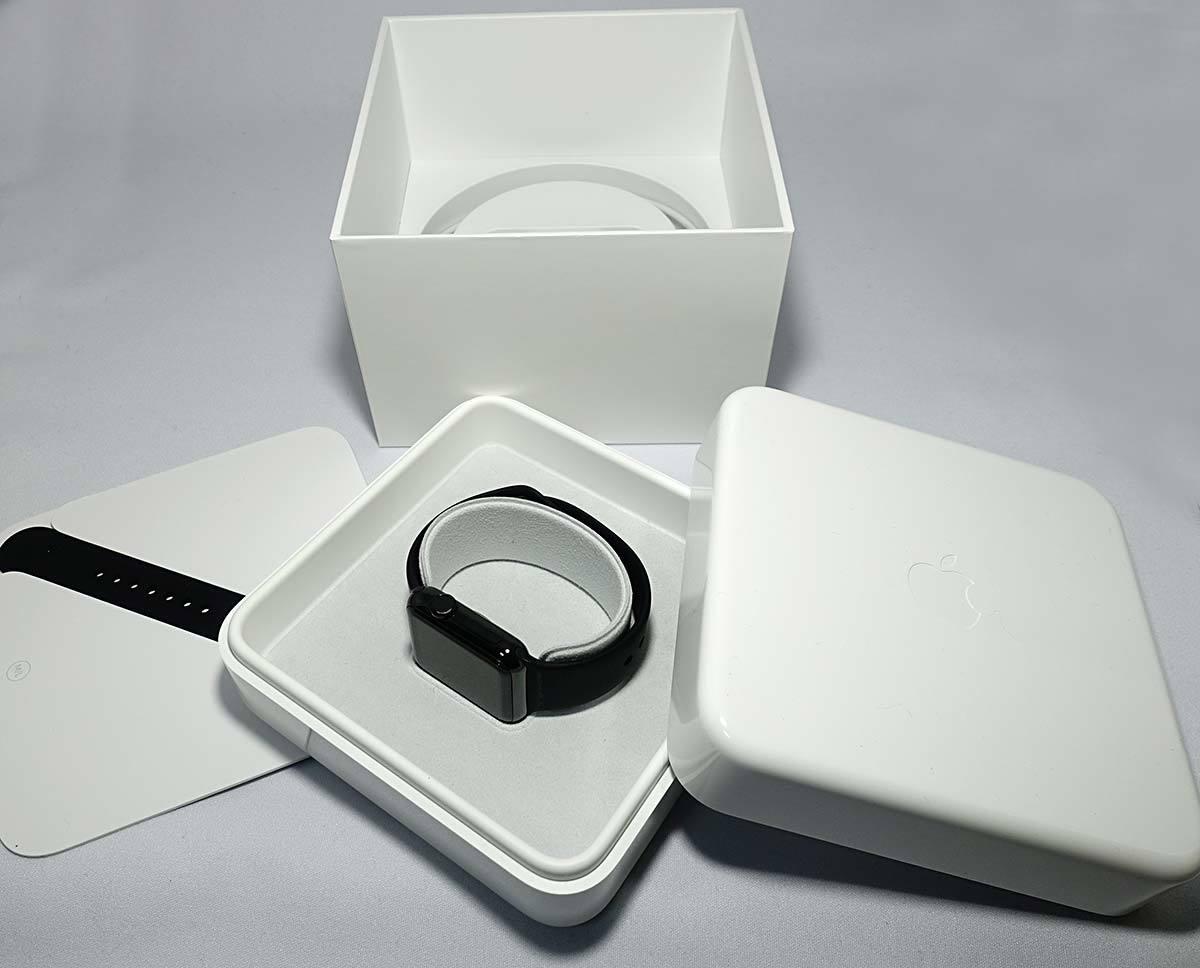 箱付 付属品有 Apple Watch 38mm MLCK2J/A A1553 ブラック ステンレススチール ブラック スポーツバンド アップル ウォッチ_画像4