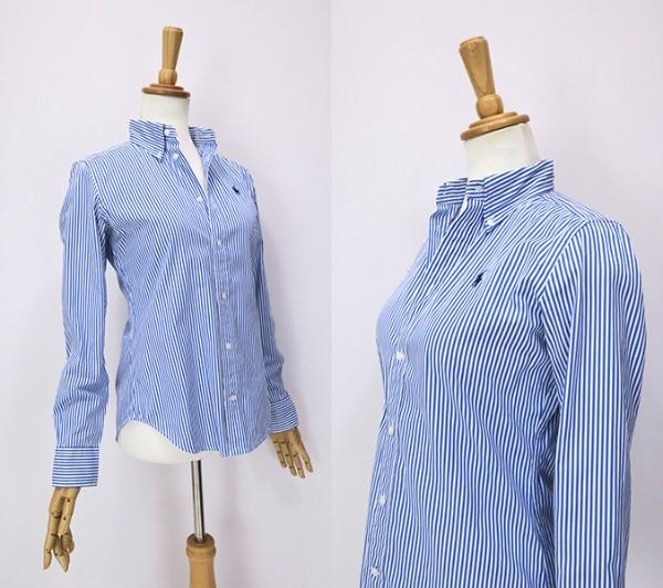 ラルフローレン SlimFit ブルーストライプ ボタンダウンシャツ 4(M)_画像3