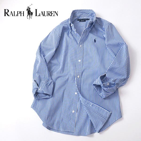 ラルフローレン SlimFit ブルーストライプ ボタンダウンシャツ 4(M)