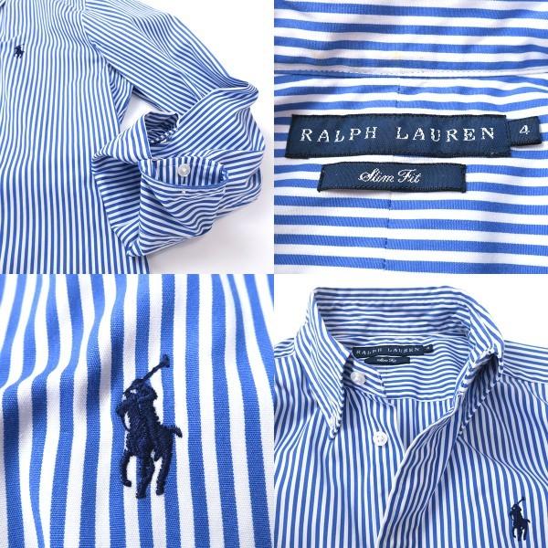 ラルフローレン SlimFit ブルーストライプ ボタンダウンシャツ 4(M)_画像10