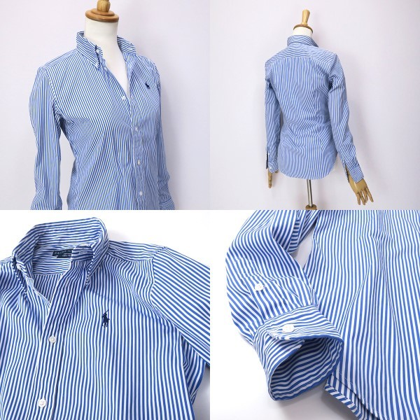ラルフローレン SlimFit ブルーストライプ ボタンダウンシャツ 4(M)_画像7