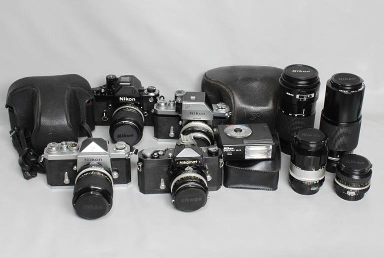 041819 【レトロニコン一眼レフ ジャンク品】 Nikon レトロ一眼レフ&レンズ・ストロボ 合計13点 まとめて