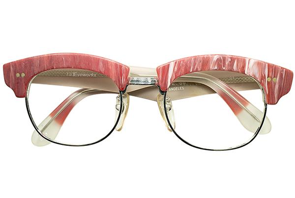 初期代表作品 グルメインスパイア超鋭角DESIGN 1980sデッドITALY製 l.a.Eyeworksアイワークス 極太ブロータイプ眼鏡 霜降りミート柄 a6237_画像2