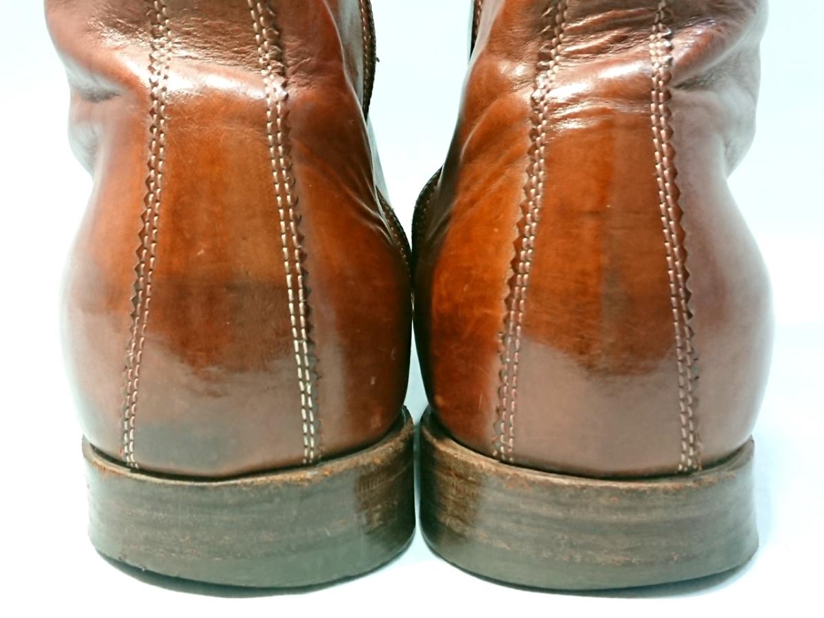 即決 TO&CO トゥーアンドコー メンズ 24.5-25.5㎝ ウィングチップサイドジップブーツ ブラウン 1370 イタリア製 本革 ウエスタンブーツ _画像5