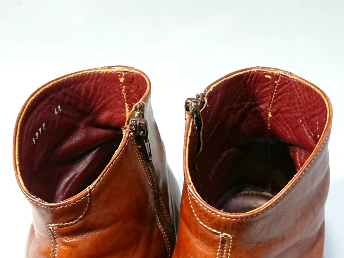 即決 TO&CO トゥーアンドコー メンズ 24.5-25.5㎝ ウィングチップサイドジップブーツ ブラウン 1370 イタリア製 本革 ウエスタンブーツ _画像7
