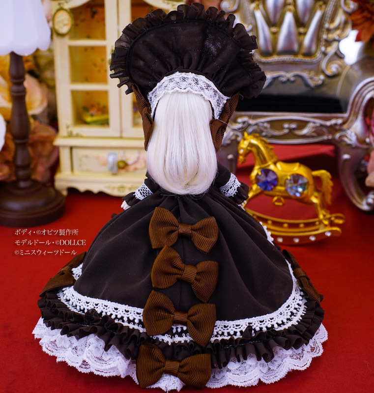【恋鞠堂】オビツ11サイズ・クラシカルドレス(ビターチョコレートブラック)_画像4