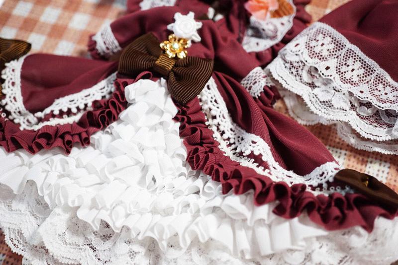 【恋鞠堂】オビツ11サイズ・クラシカルドレス(ローズレッド)_画像8
