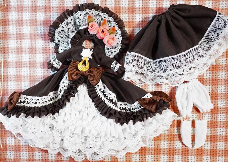 【恋鞠堂】オビツ11サイズ・クラシカルドレス(ビターチョコレートブラック)_画像6