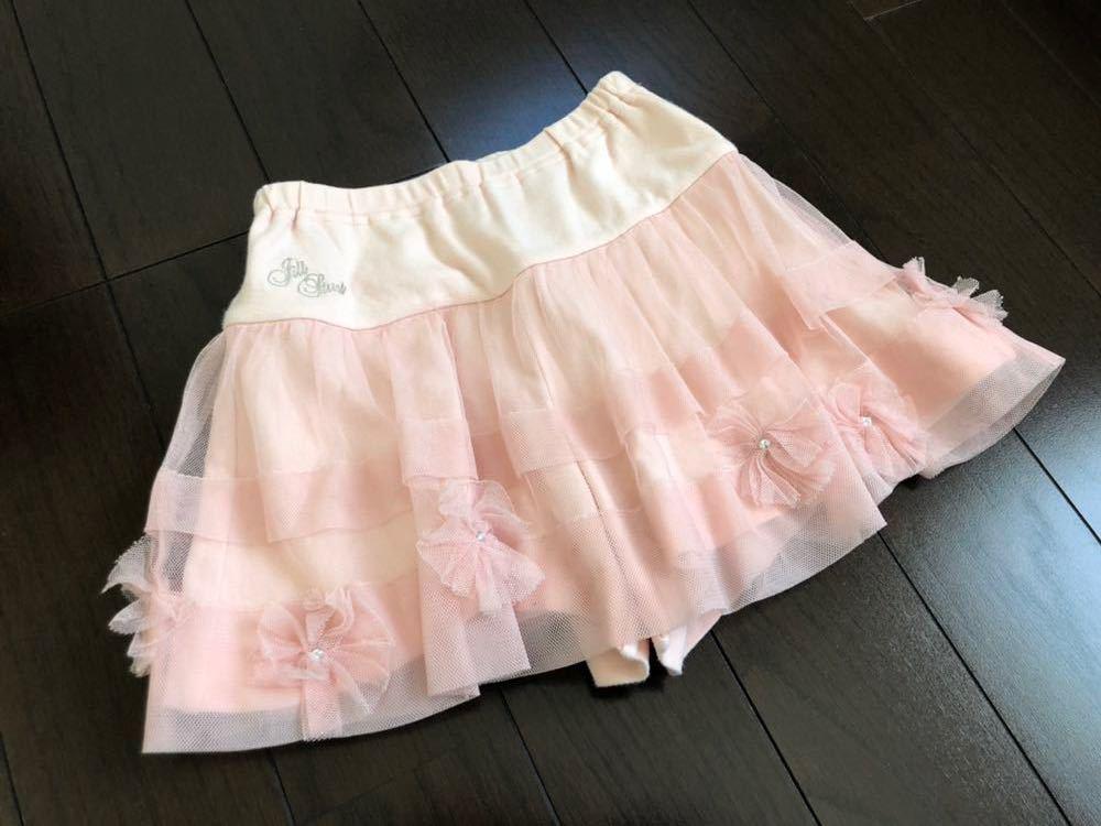 [春夏]ジルスチュアート NY レーススカート キュロット 130cm*ピンク*used*