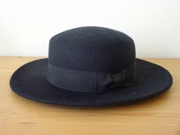 ⊿grove⊿ワールド レディース・婦人用 ポーラーハット つば広ハット 紺色 サイズ57・5cm 帽子 未使用保管品_画像3
