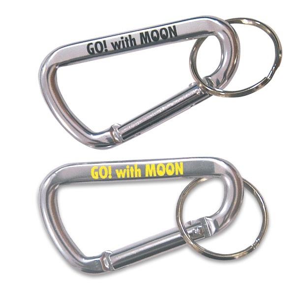 Go! With MOON ビッグ カラビナ キーリング Lサイズ シルバー 黄文字 mooneyes ムーンアイズ moon eyes キーホルダー バイカーさんにも_別で黒文字も出品しております。