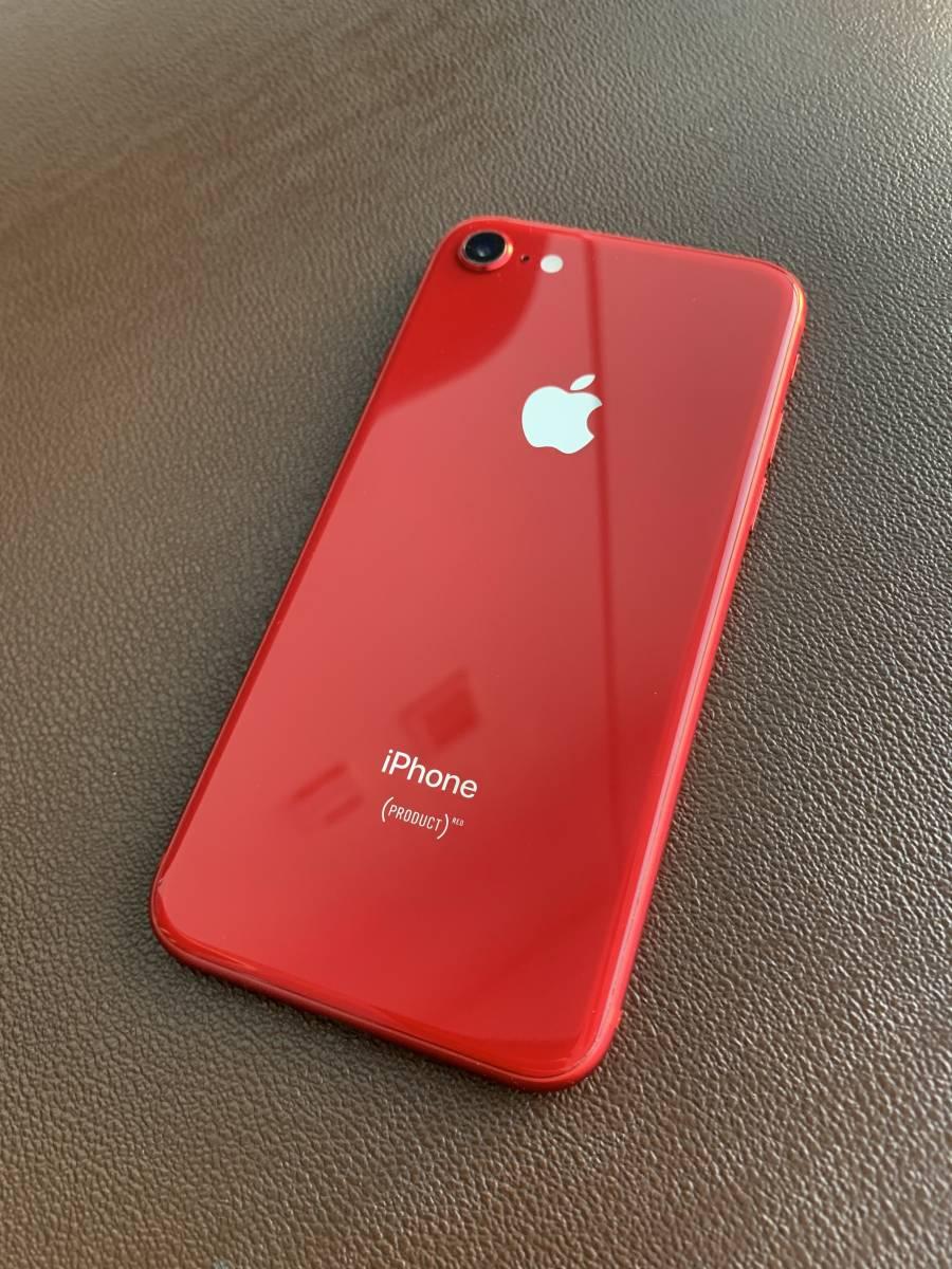 送料無料!人気色 ☆ iPhone8 SIMフリー 64GB PRODUCT RED 付属品新品未使用品。