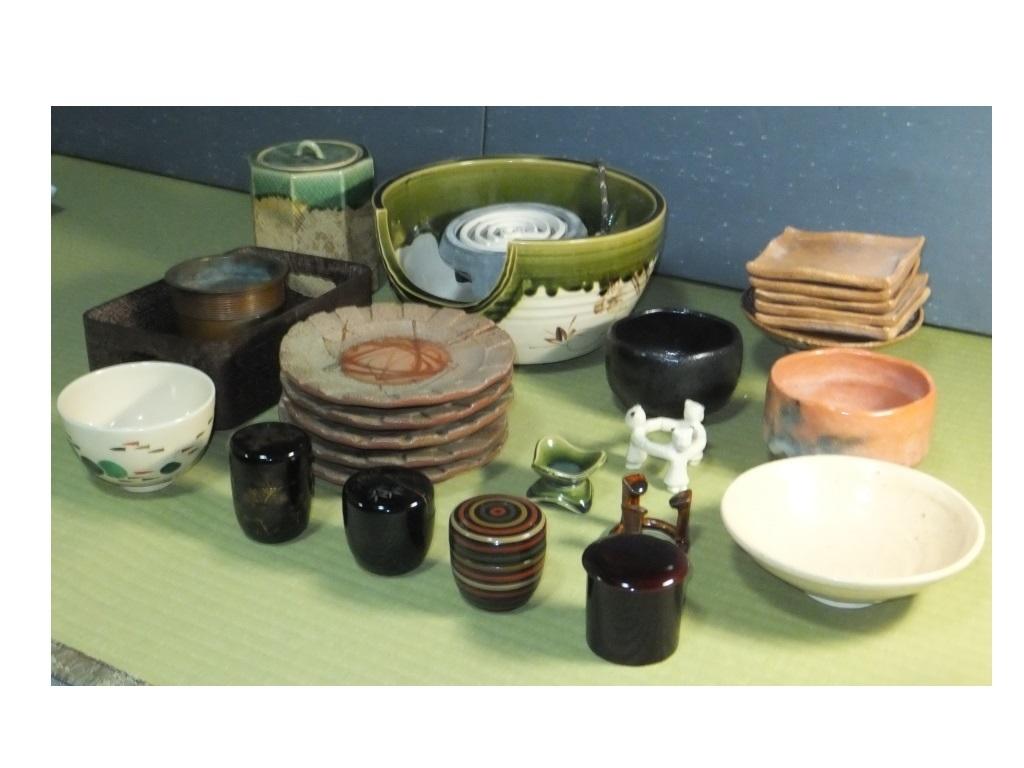 ◆茶道具 色々未使用 使用品 紅鉢織部 新品◆菓子器 茶碗 タバコ盆 水指他 木共箱 つきもあり 箱なしもあり殆ど紙箱_画像2