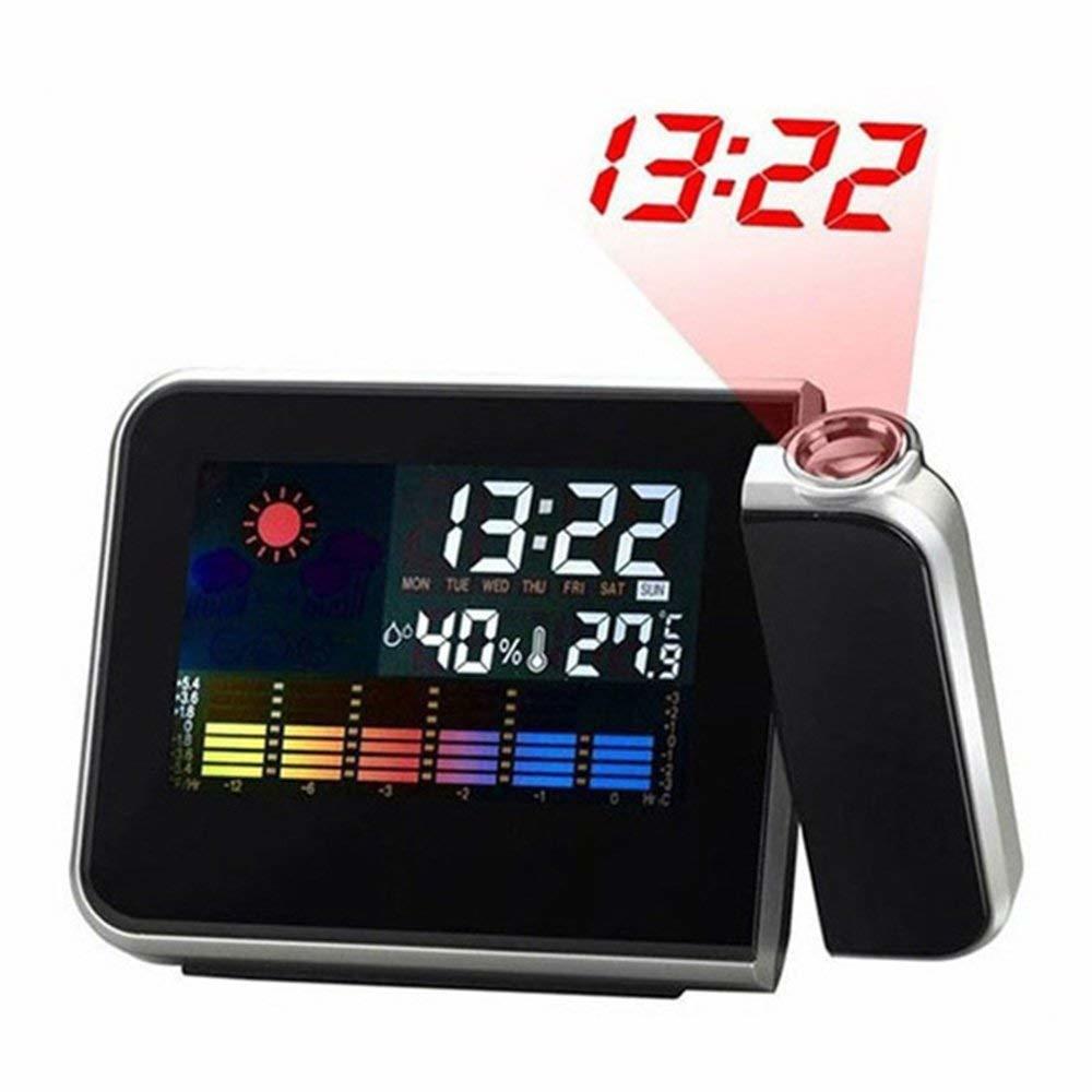 【送料無料】3■プロジェクター投影 LEDデジタルクロック■カレンダー 温度 湿度計 アラーム 天気 カラー液晶♪_画像2