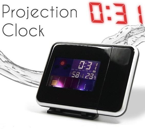【送料無料】3■プロジェクター投影 LEDデジタルクロック■カレンダー 温度 湿度計 アラーム 天気 カラー液晶♪