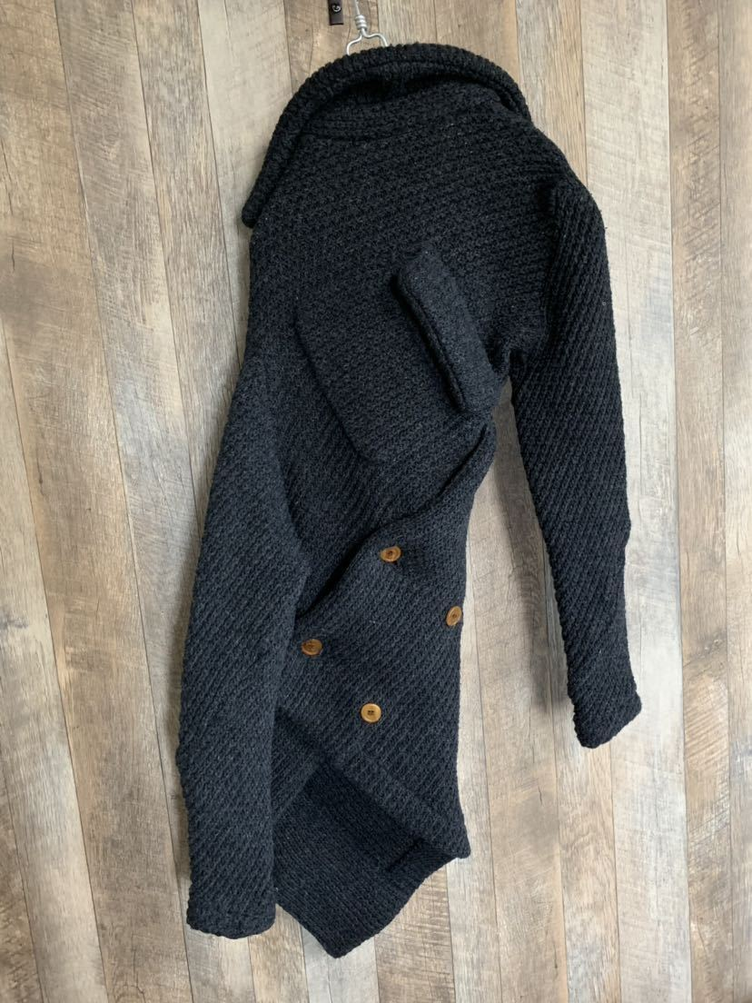 【02AW】Comme des Garcons 名作 変形 捻れ ニット トレンチコート Sサイズ Knitting is free期 ランウェイ登場モデル コムデギャルソン_画像5