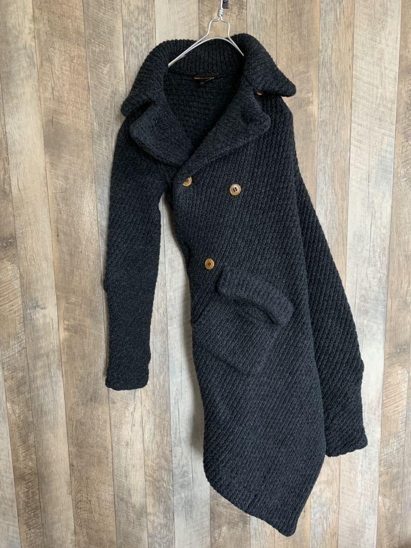 【02AW】Comme des Garcons 名作 変形 捻れ ニット トレンチコート Sサイズ Knitting is free期 ランウェイ登場モデル コムデギャルソン_画像4