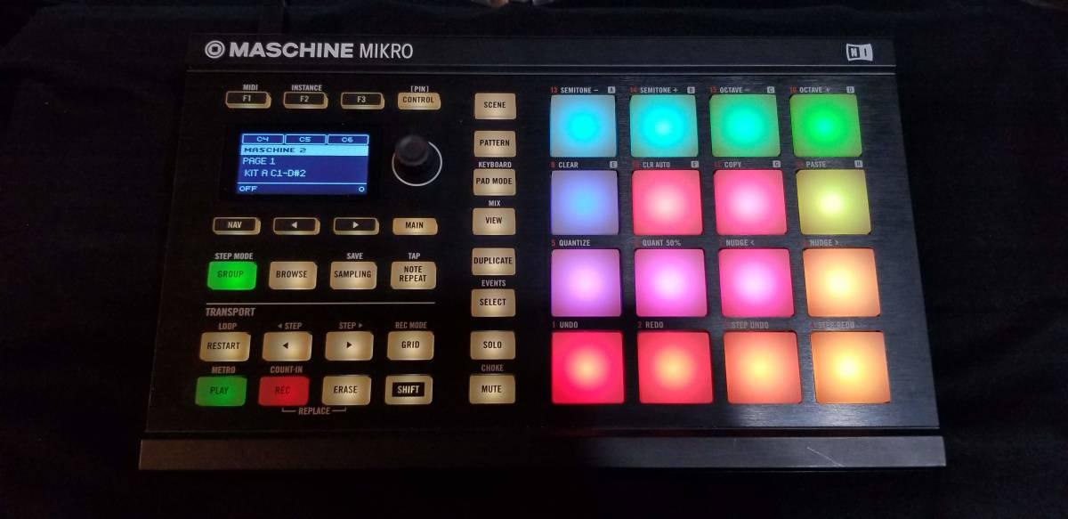 送料無料 Native Instruments Maschine Mikro MK2 パッドコントローラー ソフトウェア付属(トランスファーID付) 完動品 元箱あり