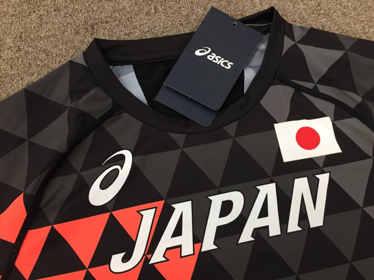 2017 世界陸上ロンドン 陸上競技 日本代表 JAAFオフィシャル×asicsアシックス オーセンティックTシャツ ブラック×サンライズレッド格子M_画像4