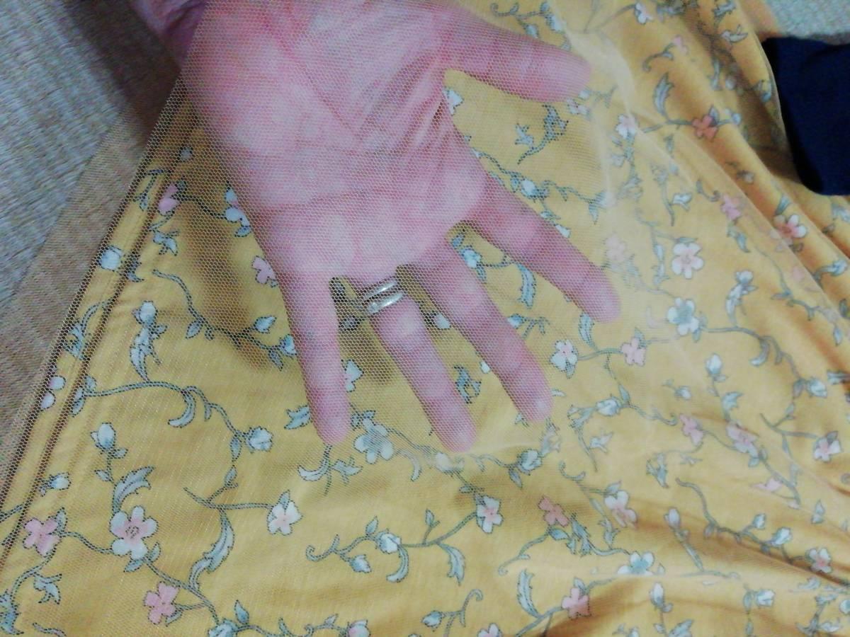 新品 女の子 ワンピース 150 花柄 長袖 ドッキングワンピ 黄色_画像2