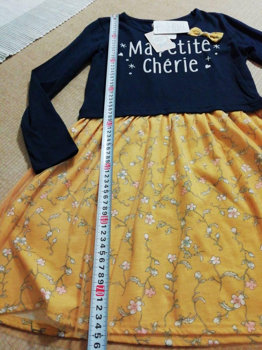 新品 女の子 ワンピース 150 花柄 長袖 ドッキングワンピ 黄色_画像4