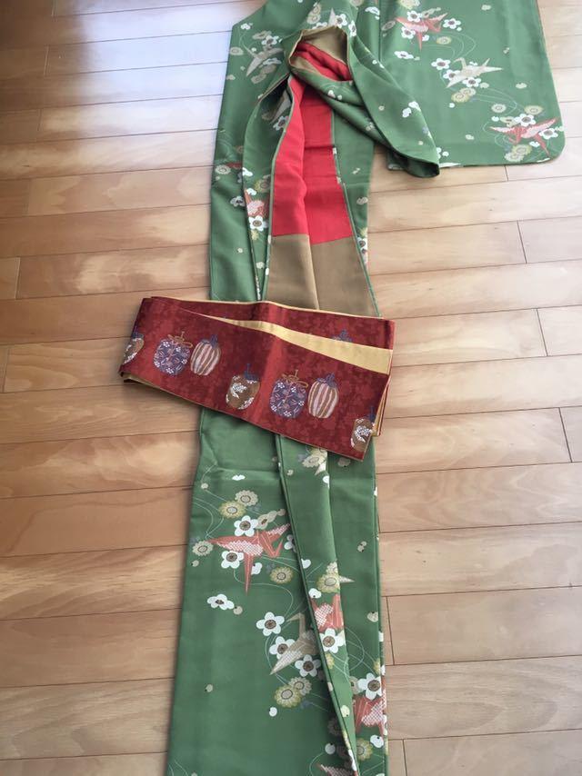 送料無料!【夢工房】抹茶色裏付き着物と半幅帯仕覆総柄