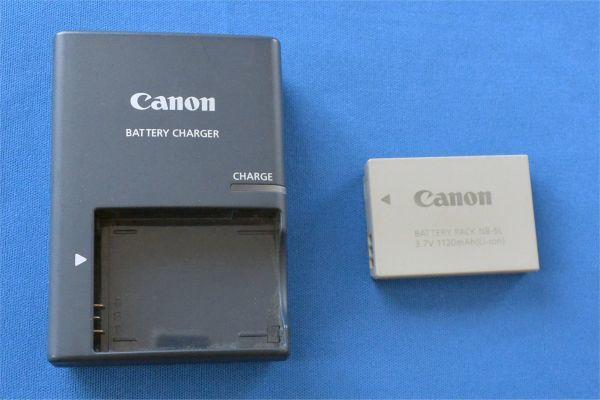 【ジャンク】Canon 充電器 CB-2LX、電池 NB-5L キャノン充電器とバッテリーパックセット